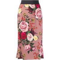 Dolce & Gabbana Saia Lápis Floral - Rosa