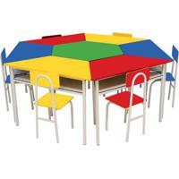 Conjunto De Mesa Sextavada Com 6 Cadeiras School Colorida