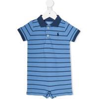 Ralph Lauren Kids Macacão Listrado Com Gola Polo - Azul