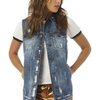 Colete Jeans Denim Zero Estonado E Detonado - Feminino-Jeans