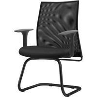Cadeira Liss Com Braco Fixo Assento Courino Base Fixa Preta - 54670 - Sun House