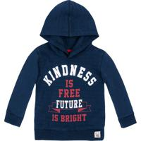 "Blusã£O ""Kindness Is Free Future""- Azul Marinho & Vermelhpuc"
