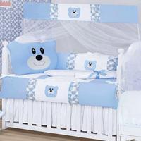 Kit Berço I9 Baby Americano 9 Peças 100% Algodão Urso Azul