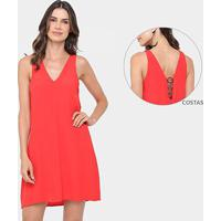 Vestido Colcci Evasê Curto Detalhe Metalizado Costa - Feminino-Vermelho