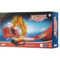 Pista Express Wheels Fast Lane Com 1 Carrinho E 7 Peças Indicado Para +5 Anos Multikids - Br1020 Br1020