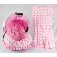 Conjunto Capa De Bebê Conforto E Capa De Carrinho Coroa Alan Pierre Baby 0 A 13 Kg Rosa