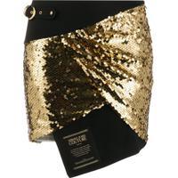 Versace Jeans Couture Saia Assimétrica Com Paetês - Preto