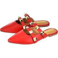 Sapato Mule Feminino Donatella Shoes Tira Com Aplicação Vermelho