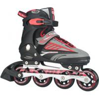 Patins Bel Fix Rollers Future 7000 - In Line - Fitness - Base De Alumínio - Adulto - Vermelho/Preto