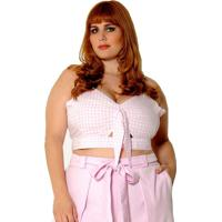Blusa Cropped Vintage And Cats Plus Size Vichy Rosa