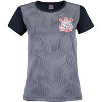 Camiseta Do Corinthians Cubos 18 - Feminina - Preto/Cinza Esc