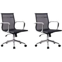 Conjunto Com 2 Cadeiras De Escritório Eames Diretor Star Preto