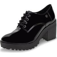 Sapato Feminino Oxford Via Marte - 196506 Verniz/Preto 35