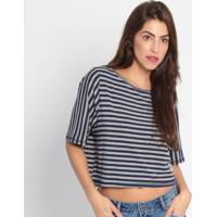 Blusa Listrada Com Patches - Azul Marinho & Cinza- Mmy Favorite Things