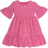 Vestido Gira Baby Kids Infantil Renda Rosa