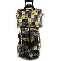 Jogo Malas Giulianna Fiori Travel Set Dahlia Com Rodas + Capa Para Notebook E Celular Em Patchwork Original