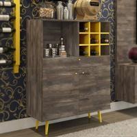 Bar Para Sala Unique 100% Mdf Roble/Amarelo - Incolar