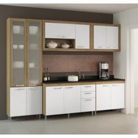 Cozinha Compacta Gualeguay 12 Pt 3 Gv Argila Com Porta De Vidro Argila , Branco E Preto
