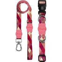 Kit Guia + Coleira Premium Dog Trip Brasil Quadriculado Rosa