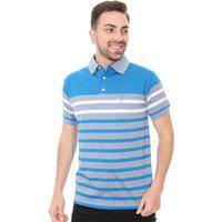 Polo Aleatory Masculina Classic Stripes Branco E Azul Celeste
