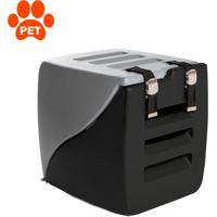 Caixa De Transporte Para Pet Happy Box Cinza E Preto