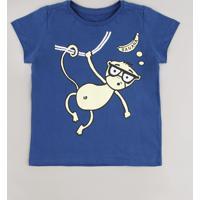 Camiseta Infantil Macaco Manga Curta Azul Marinho
