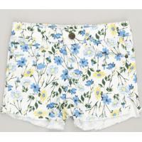 Short Color Infantil Estampado Floral Off White