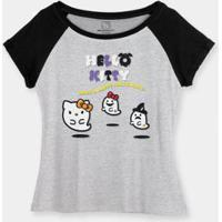 Camiseta Bandup! Raglan Hello Kitty Have A Happy Halloween - Feminino-Cinza+Preto