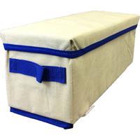 Caixa Organizadora Com Tampa E Alça 14X15X38Cm Organibox Bege/Azul