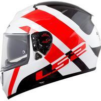 Capacete Ls2 Vector Ff397 Trident Branco/Vermelho (Tri-Composto) Ls2 Vector Ff397 Trident
