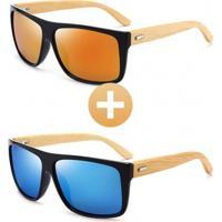 Combo Com 2 Óculos Polarizado Com Hastes Em Bambu Laranja/Azul