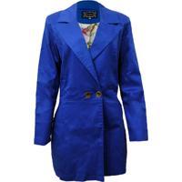 Casaco Dois Ponto Sete Social Cotton Satin Azul Royal