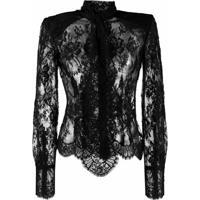 Dolce & Gabbana Blusa Com Renda E Laço - Preto