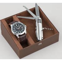 Kit De Relógio Analógico Mondaine Masculino + Canivete - 83447G0Mvnh1K Prateado