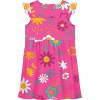 Vestido Floral Com Babados - Rosa Escuro & Amarelo- Rovitex