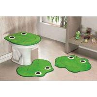 Jogo De Banheiro Formato Sapo 03 Peças - Verde Pistache