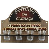 Cantinho Da Cachaça Kasa Ideia C/ 4 Copos Marrom