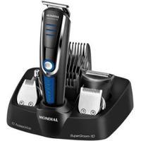 Kit Aparador De Pelos Barba E Cabelo Mondial - Unissex-Preto+Azul