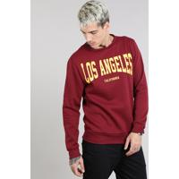 """Blusão Masculino Em Moletom """"Los Angeles"""" Vinho"""
