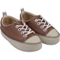 Tênis Infantil Couro Catz Calçados Noody Cadarço - Unissex-Marrom Claro