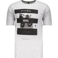 Camiseta Fatal First Original Estampada Masculina - Masculino-Cinza