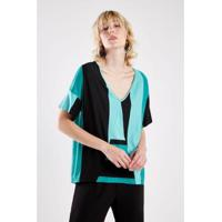 Blusa Malha Listra Verde Sacada - Feminino
