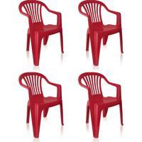 Conjunto Com 4 Cadeiras Plásticas Vila Boa Vista Vinho