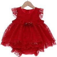 Vestido Curto Beth Bebê Renda Com Calcinha Nádia Vermelho