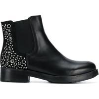 Tosca Blu Ankle Boot De Couro Com Tachas - Preto