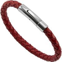 Bracelete De Aço Inox Tudo Joias Com Couro Bright Red - Unissex-Vermelho