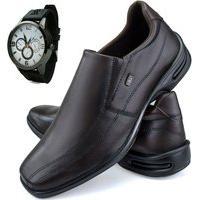 Sapato Social Neway Conforto Marrom + Relógio