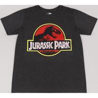 Camiseta Juvenil Jurassic Park Manga Curta Cinza Mescla Escuro