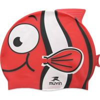 Touca De Natação Em Silicone Kid Nemo Muvin Branca E Vermelha