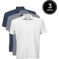 Kit De 3 Camisas Polo Masculinas De Várias Cores B